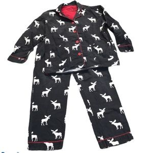 PJ Savage Flannel 2 Piece Pajama Moose Gray Small